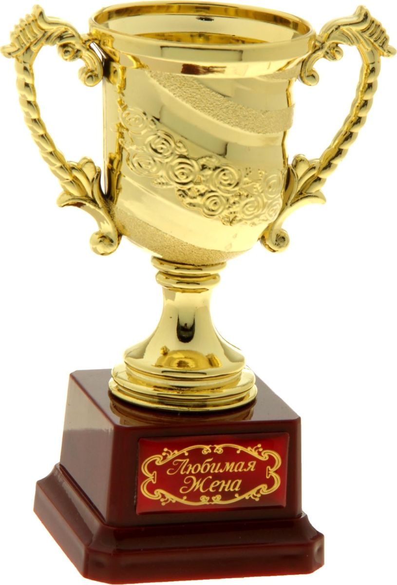 Кубок сувенирный Любимая жена. 806984806984Кубок - символ почета и уважения, блистательных побед и выдающихся успехов. Награда для истинных победителей и просто дорогих и любимых людей. Эксклюзивный кубок станет настоящим украшением Вашего праздника, поможет оригинально наградить победителя или создать незабываемую церемонию поздравления. Кубок изготовлен из легкого золотистого пластика, установлен на пластиковую подставку с полимерной наклейкой. Яркая фирменная упаковка PVC дополняет подарок. Награждайте и удивляйте!