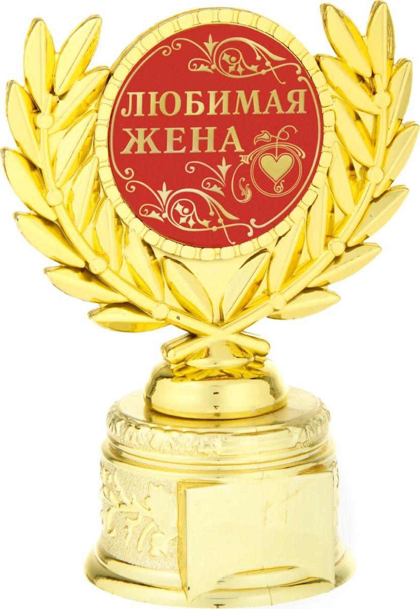 Кубок сувенирный Любимая жена. 806996806996Если вы хотите порадовать и удивить близкого вам человека, выберите в качестве подарка награду - как символ побед и достижений. Сюрприз придется по душе вашему близкому другу, родственнику или коллеге. Награда займет достойное место в интерьере и будет радовать будущего владельца каждый день. Награда выполнена в виде медали, обрамленной лавровыми ветвями, расположена на золотой подставке из пластика. Цветная вставка изготовлена из металла с акриловым покрытием, что предотвращает её потускнение.