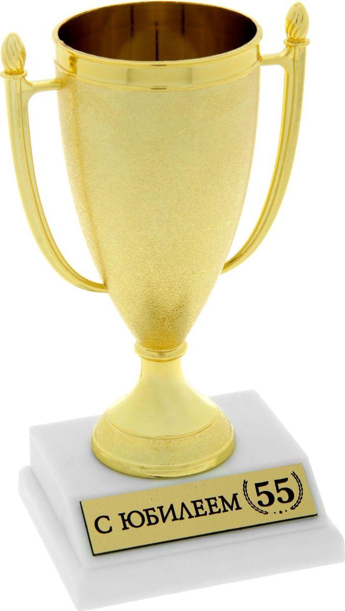 Кубок сувенирный С Юбилеем 55. 843514843514Кубок, как символ победы, украсит интерьер дома или займёт почетное место в рабочем кабинете. Награда будет радовать своего будущего владельца долгое время и привлекать внимание гостей. На подставке находится шильдик с номинацией, изготовленный из металла с акриловым покрытием, что предотвращает его потускнение. Статуэтку дополняет красивая подарочная упаковка, которая придает подарку презентабельный вид.