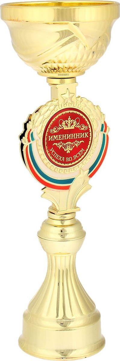 Кубок сувенирный Именинник. 844021844021Кубок Именинник станет самой лучшей наградой и подарком, поскольку сочетает в себе качество и интересный дизайн! Уникальный сувенир неповторим по своей форме, второго такого вы не найдёте. Он дополнен цветной бляшкой, изготовленной из металла, с наименованием номинации, за которую вручается. Упаковка для кубка из гофрокартона надёжно защищает его от повреждения при транспортировке и служит отличным вариантом подарочной упаковки. На обороте коробки получатель найдёт добрые слова и тёплые пожелания.