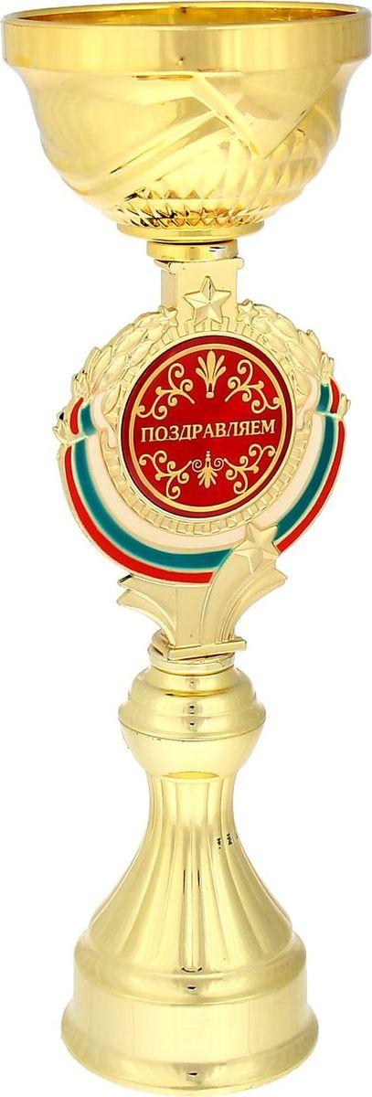 Кубок сувенирный Поздравляем. 844023844023Кубок Поздравляем станет самой лучшей наградой и подарком, поскольку сочетает в себе качество и интересный дизайн! Уникальный сувенир неповторим по своей форме, второго такого вы не найдёте. Он дополнен цветной бляшкой, изготовленной из металла, с наименованием номинации, за которую вручается. Упаковка для кубка из гофрокартона надёжно защищает его от повреждения при транспортировке и служит отличным вариантом подарочной упаковки. На обороте коробки получатель найдёт добрые слова и тёплые пожелания.