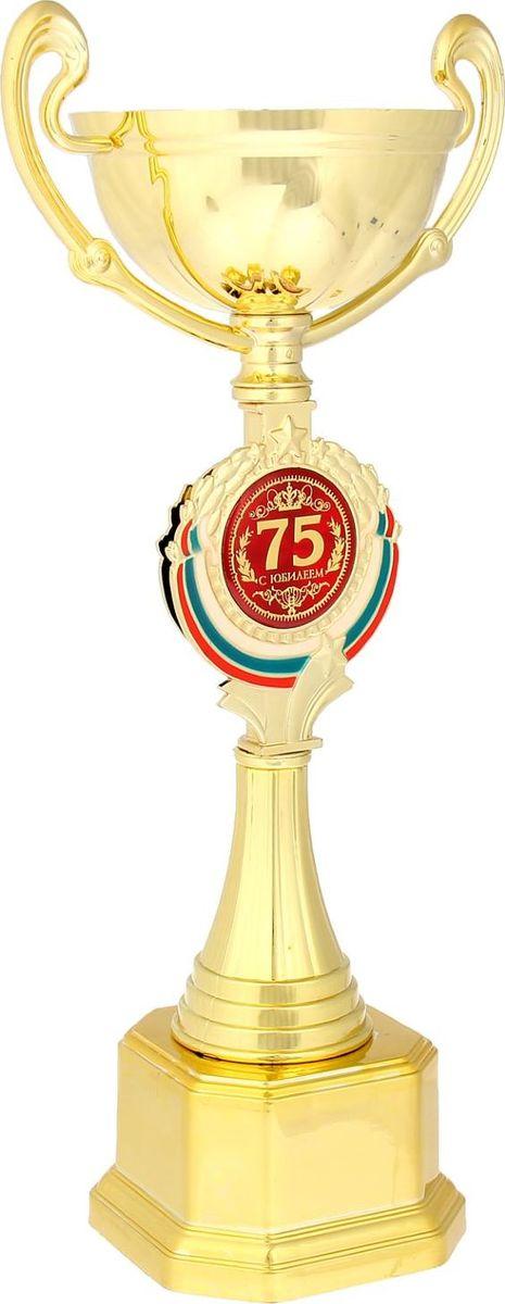 Кубок сувенирный С Юбилеем 75. 844052844052Кубок С Юбилеем 75 станет самой лучшей наградой и подарком, поскольку сочетает в себе качество и интересный дизайн! Уникальный сувенир неповторим по своей форме, второго такого вы не найдёте. Он дополнен цветной бляшкой, изготовленной из металла, с наименованием номинации, за которую вручается. Упаковка для кубка из гофрокартона надёжно защищает его от повреждения при транспортировке и служит отличным вариантом подарочной упаковки. На обороте коробки получатель найдёт добрые слова и тёплые пожелания.