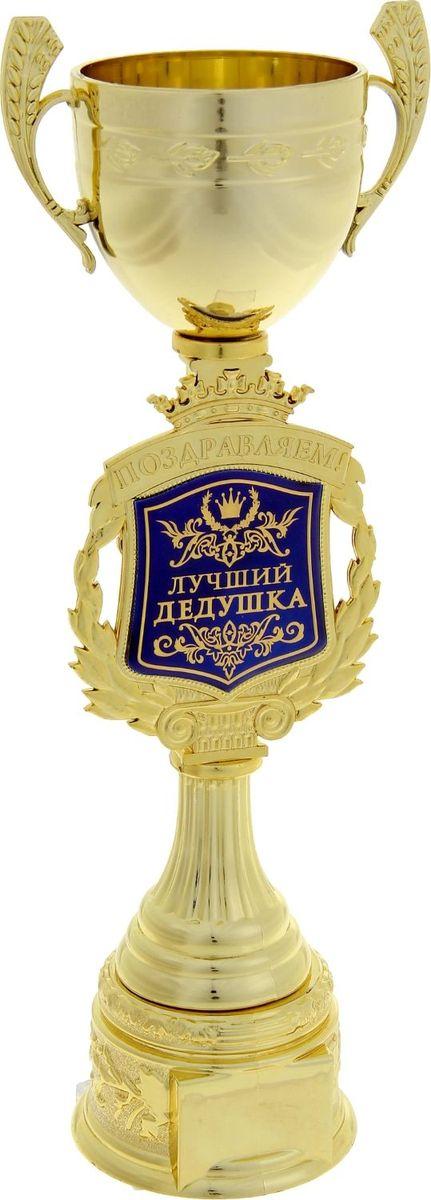 Кубок сувенирный Поздравляем. Лучший дедушка. 850348850348Кубок — это сувенир, который станет приятным напоминанием о важном событии и предметом гордости на долгие годы! Ножка награды украшена надписью и гербом, обрамлённым лавровой ветвью. Венчает композицию царская корона. Герб-вставка изготовлен из пластика с акриловым покрытием, которое предотвращает потускнение и создаёт яркую поверхность с приятным шёлковым переливом. Кубок Поздравляем. Лучший дедушка упакован в яркую подарочную коробочку с тёплыми словами и PVC вставкой, которая позволяет сразу рассмотреть изделие.