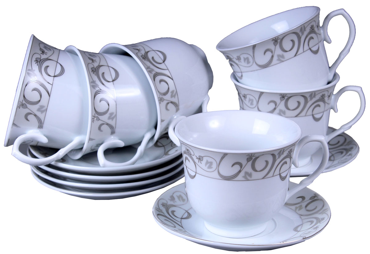 Набор чайный Olaff, 12 предметов. JDFS-12QWB-003JDFS-12QWB-003Набор чайный, 12 предметов: 6 чашек 220 мл + 6 блюдец, декор серебро, прямоугольная подарочная упаковка с окошком