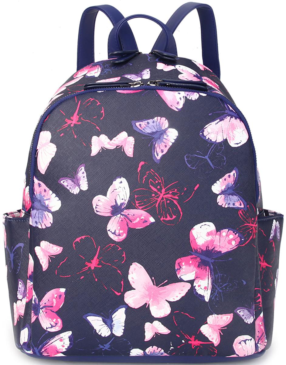 Рюкзак женский OrsOro, цвет: темно-синий, розовый. D-428/1D-428/1Женский рюкзак OrsOro выполнен из искусственной кожи высокого качества.Рюкзак имеет 2 отделения на молнии. Рюкзак обладает удобной ручкой сверху для переноски и двумя регулируемыми плечевыми лямками. Снаружи так же имеется 2 боковых кармана,задний карман на молнии.