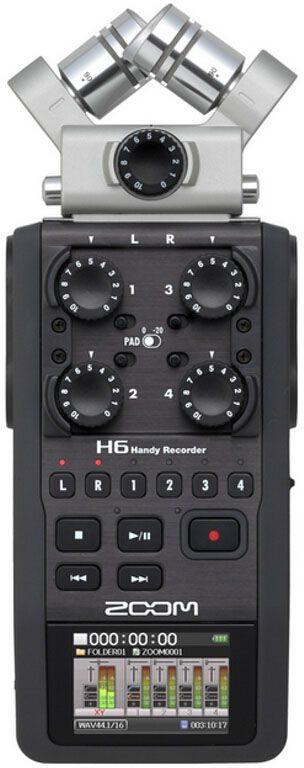 Zoom H6, Black диктофонH6Корпорация ZOOM производит инновационные продукты для звуковых решений в области гитарного модулирования и эффектов, а так же цифровой звукозаписи на протяжении уже более чем 30ти лет. Сегодня ZOOM представляет публике по истине революционный продукт ZOOM H6 — самый универсальный портативный рекордер из когда либо созданных, который поднимает планку качества и функциональности современных рекордеров на абсолютно новый уровень.ZOOM H6 оборудован сменными микрофонными капсюлями разного типа и назначения. В комплект входят XYH-6 – разнонаправленный микрофонный капсюль типа X/Y, MSH-6 — капсюль с поддержкой Mid-Side стерео, записывающий звук на 150 градусов вокруг, а дополнительно можно приобрести SGH-6 — капсюль типа пушка, а также EXH-6 – модуль- на 2 дополнительных комбинированных XLR/TRS входа. Все это делает ZOOM H6 настоящим хамелеоном мира аудио и устройством, обладающим самыми лучшими звуковыми характеристиками в сегменте.Вне зависимости от сферы применения – концертная запись, запись репетиций, профессиональная кино- и видео запись, теле- и радио- вещание, журналистская работа и много другое – ZOOM H6 с легкостью справится с любой поставленной задачей.Поднимите запись выступлений на совершенно новый уровеньВы можете делать больше, чем просто записывать выступление: вы можете с точностью задокументировать происходящее. Используйте микрофонный капсюль X/Y для того, чтобы захватить весь окружающий звук в стерео качестве. При этом, вы можете использовать четыре входа для записи прямого потока с микшерной консоли или с внешних микрофонов для захвата конкретных музыкальных инструментов. Благодаря H6 вы сможете испытывать эти впечатления снова и снова.Захватывайте полноценное звучаниеВне зависимости от того, как вы крепите H6 к вашей камере, этот рекордер станет неотъемлемой частью для любой видеографии в полевых условиях. H6 оснащен функцией MS-декодирования, в его комплект входит микрофонный капсюль MSH-6, а также он способен вести запись ср