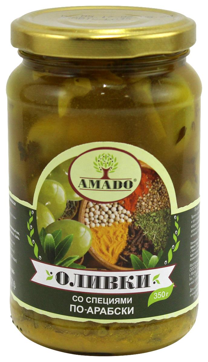 Amado зеленые оливки с косточкой со специями по-арабски, крупные, 350 г amado каламата оливки натуральные с косточкой 350 г