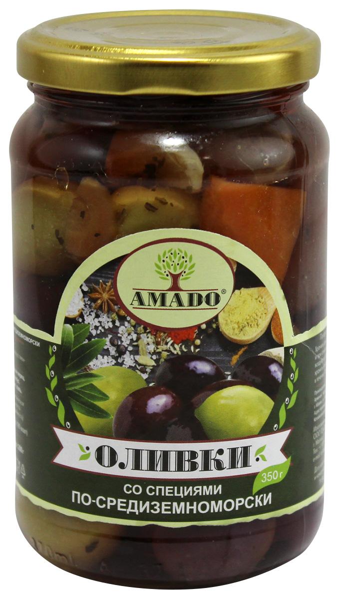 Amado зеленые оливки с косточкой со специями по-средиземноморски, крупные, 350 г delphi маслины с косточкой натуральные в рассоле 350 г