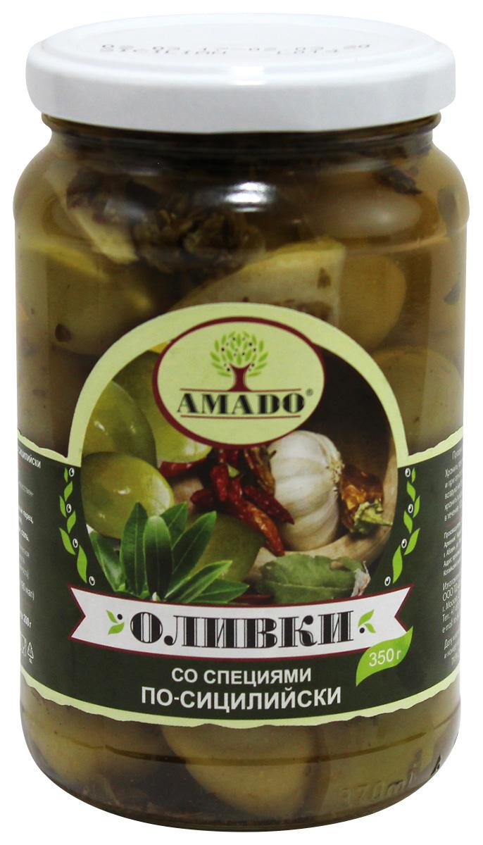 Amado зеленые оливки с косточкой со специями по-сицилийски, крупные, 350 г delphi маслины с косточкой натуральные в рассоле 350 г