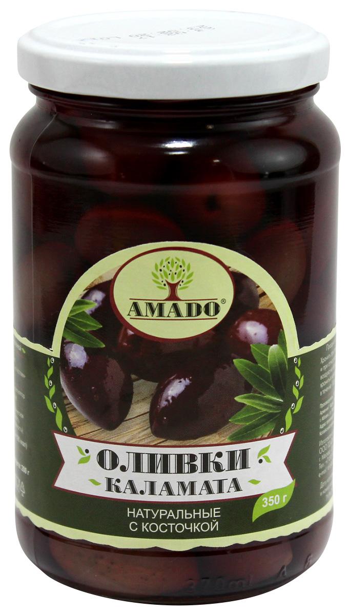 Amado каламата оливки натуральные с косточкой, 350 г оливки каламата gaea с косточкой 300г