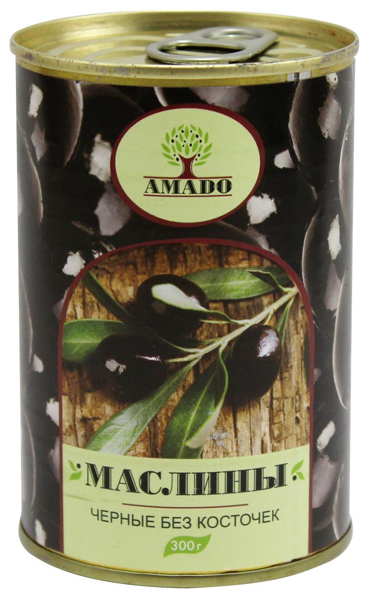Amado черные маслины без косточки, 300 г маслины без косточки принцесса вкуса 300 мл