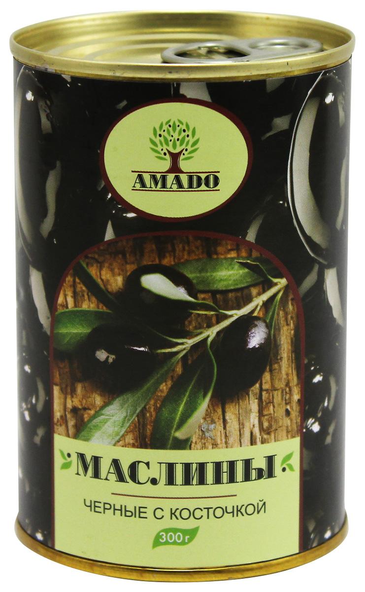 Amado черные маслины с косточкой, 300 г ideal маслины с косточкой extra class 300 г
