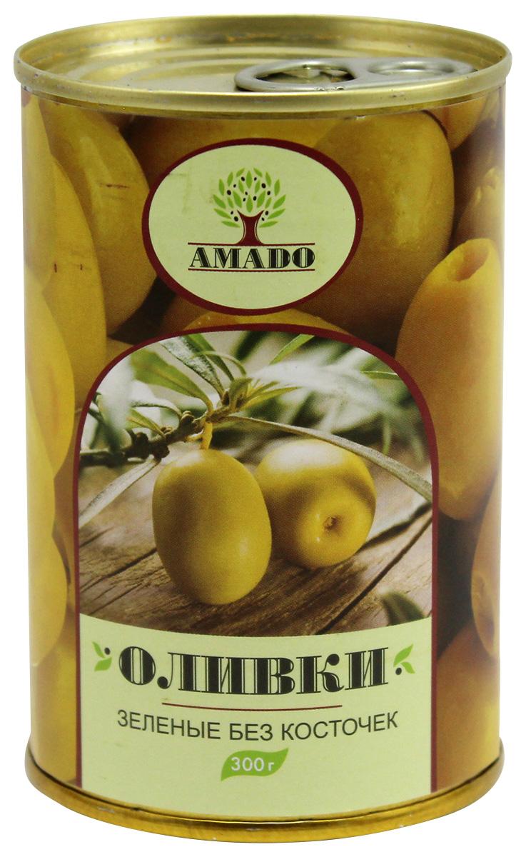 Amado зеленые оливки без косточки, 300 г маслины без косточки принцесса вкуса 300 мл