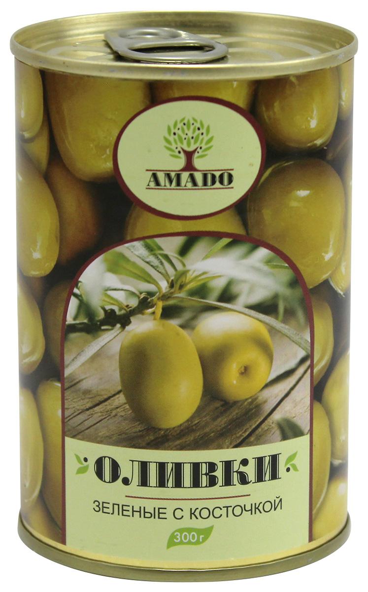 Amado зеленые оливки с косточкой, 300 г amado каламата оливки натуральные с косточкой 350 г