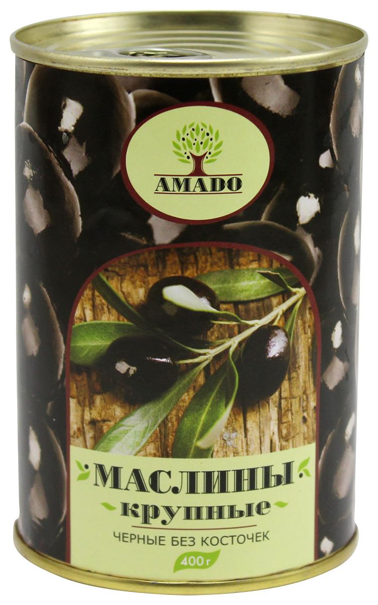 Amado черные маслины без косточки, крупные, 400 г santolino маслины вяленые 400 г