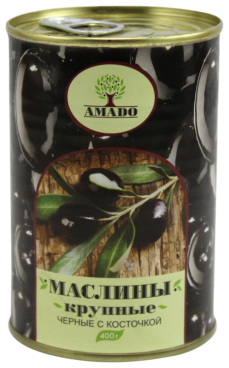 Amado черные маслины с косточкой, крупные, 400 г ideal маслины с косточкой extra class 300 г