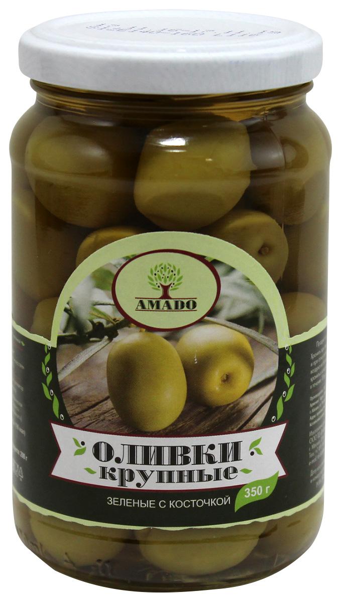 Amado зеленые оливки с косточкой, крупные, 350 г amado каламата оливки натуральные с косточкой 350 г