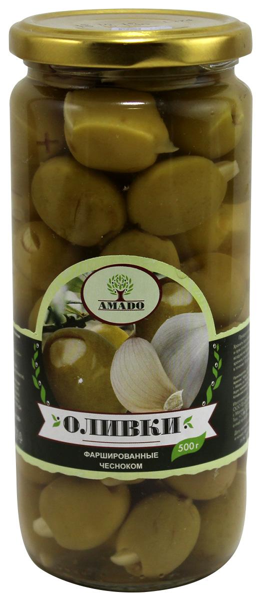 Amado зеленые оливки с чесноком, 500 г chokocat дед мороз поздравляет темный шоколад 85 г