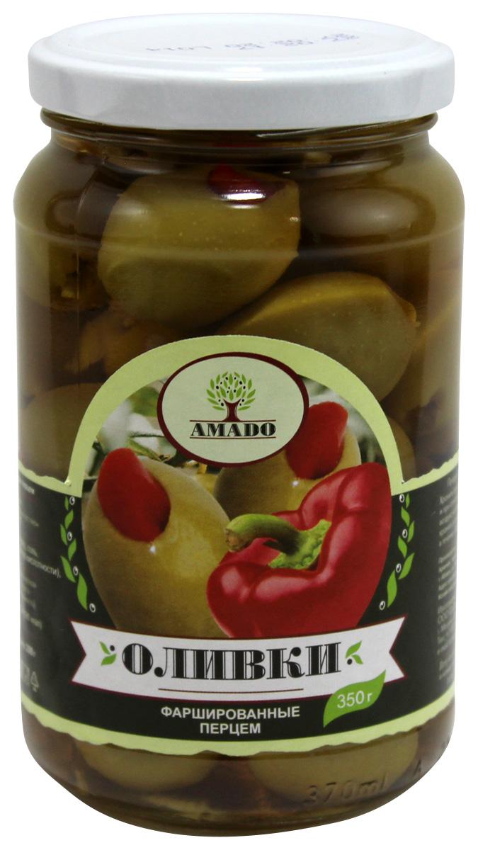 Amado зеленые оливки с перцем, 350 г amado каламата оливки натуральные с косточкой 350 г