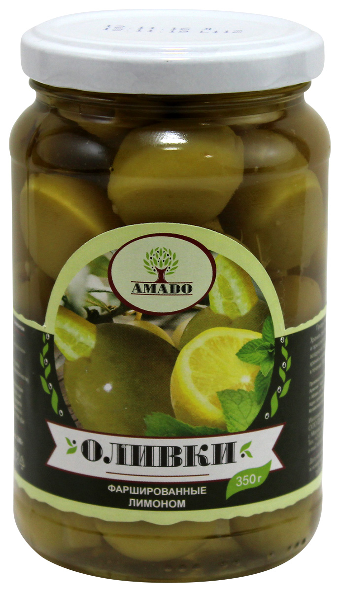 Amado зеленые оливки с лимоном, 350 г