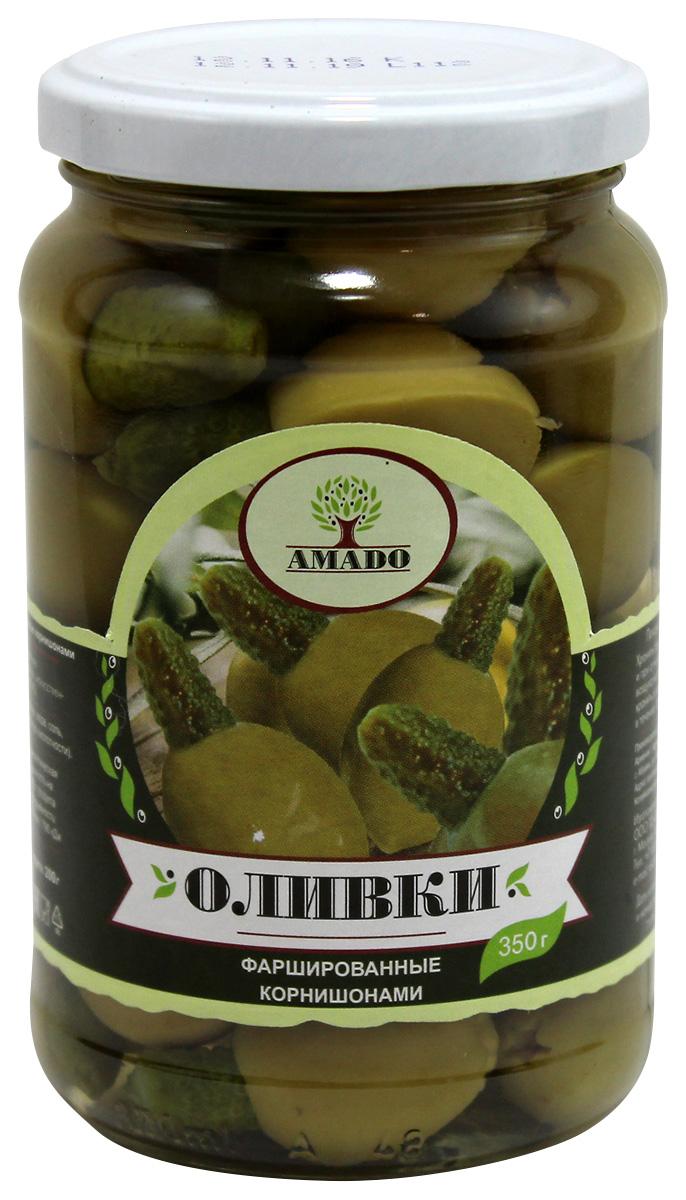 Amado зеленые оливки с корнишонами, 350 г amado каламата оливки натуральные с косточкой 350 г