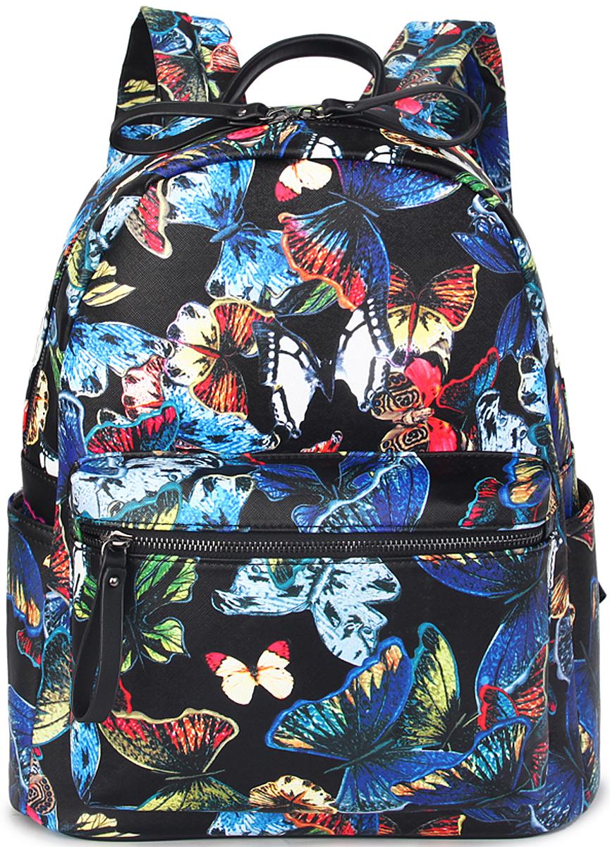 Рюкзак женский OrsOro, цвет: черный, голубой. D-461/4D-461/4Рюкзак OrsOro выполнен из искусственной кожи высокого качества.Рюкзак имеет одно отделение, закрывается на молнию. Внутри располагается карман на молнии и карман для телефона. Снаружи имеется внешний передний карман на молнии, два боковых кармана и задний карман на молнии.Рюкзак обладает удобной ручкой и двумя регулируемыми плечевыми лямками.