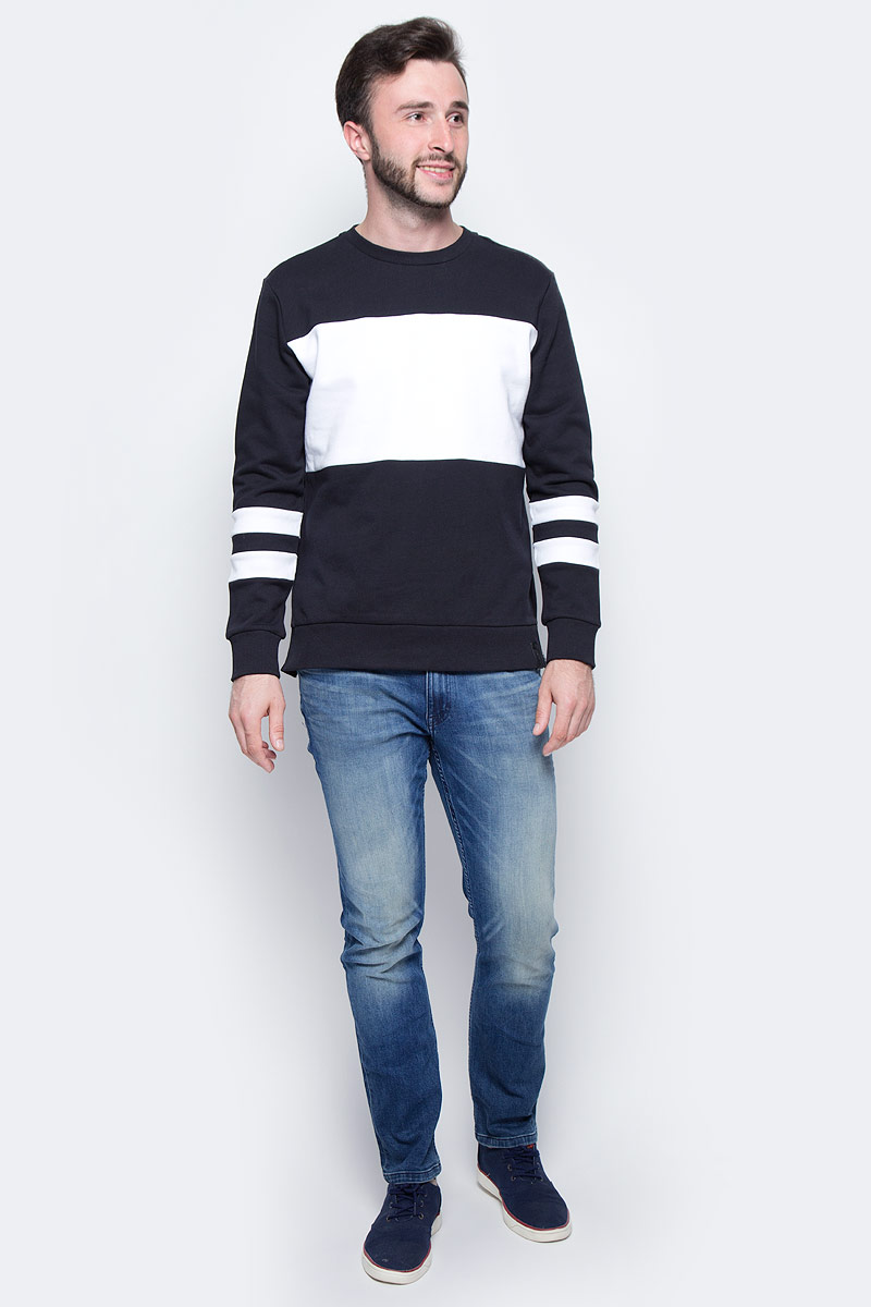 Джемпер мужской Calvin Klein Jeans, цвет: черный, белый. J30J305223_0990. Размер XXL (52/54) жилет мужской calvin klein jeans цвет светло серый j30j304800 размер xxl 52 54