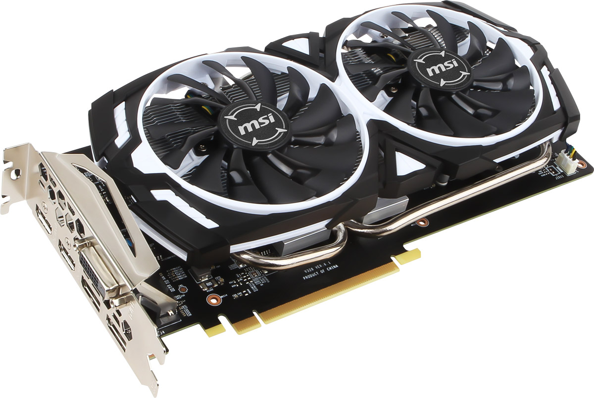 MSI GeForce GTX 1060 ARMOR OCV1 3GB видеокарта видеокарта 6144mb msi geforce gtx 1060 gaming x 6g pci e 192bit gddr5 dvi hdmi dp hdcp retail