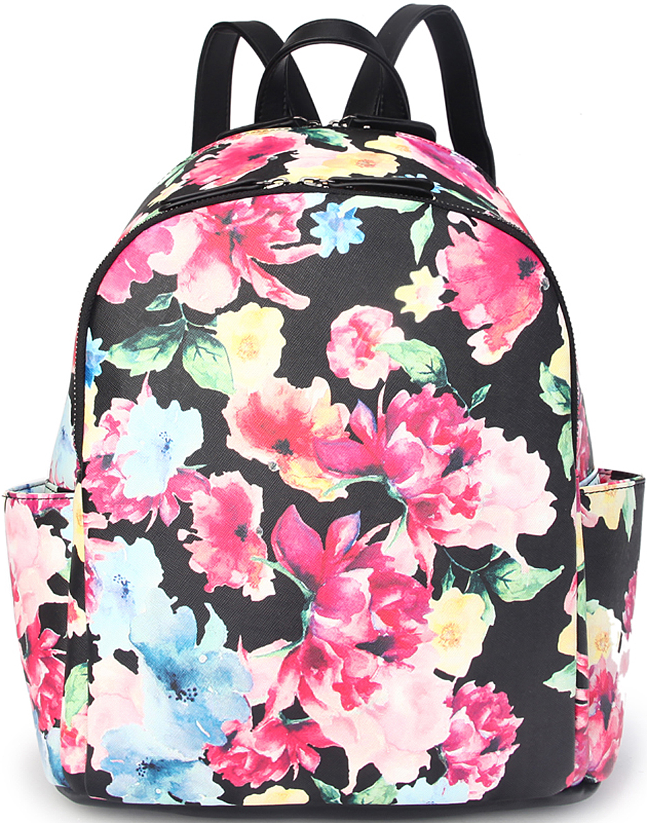 Рюкзак женский OrsOro, цвет: черный, розовый. D-428/4D-428/4Женский рюкзак OrsOro выполнен из искусственной кожи высокого качества.Рюкзак имеет 2 отделения на молнии. Рюкзак обладает удобной ручкой сверху для переноски и двумя регулируемыми плечевыми лямками. Снаружи так же имеется 2 боковых кармана,задний карман на молнии.