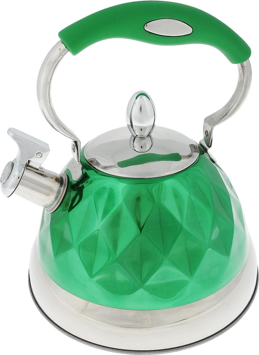 Чайник Bohmann, со свистком, цвет: стальной, зеленый, 3,5 л. 687BH7687BH_зеленыйЧайник Bohmann изготовлен из высококачественной нержавеющей хромоникелевой стали. Нержавеющая сталь обладает высокой стойкостью к коррозии и кислотам. Прочность, долговечность и надежность этого материала, а также первоклассная обработка обеспечивают практически неограниченный запас прочности и неизменно привлекательный внешний вид. Внешняя поверхность имеет цветное эмалевое покрытие и красивый рельеф. Капсульное дно с алюминиевым основанием обеспечивает лучшую теплопроводность и позволяет воде быстрее нагреваться. Чайник снабжен стальной крышкой и подвижной эргономичной ручкой с пластиковой вставкой, которая не нагревается в процессе кипячения воды. Откидной свисток громким сигналом оповестит, когда закипела вода. Можно использовать на газовых, электрических, галогеновых, стеклокерамических, индукционных плитах. Можно мыть в посудомоечной машине. Диаметр (по верхнему краю): 9,5 см. Высота (без учета ручки и крышки): 13 см. Высота (с учетом ручки): 25,5 см.