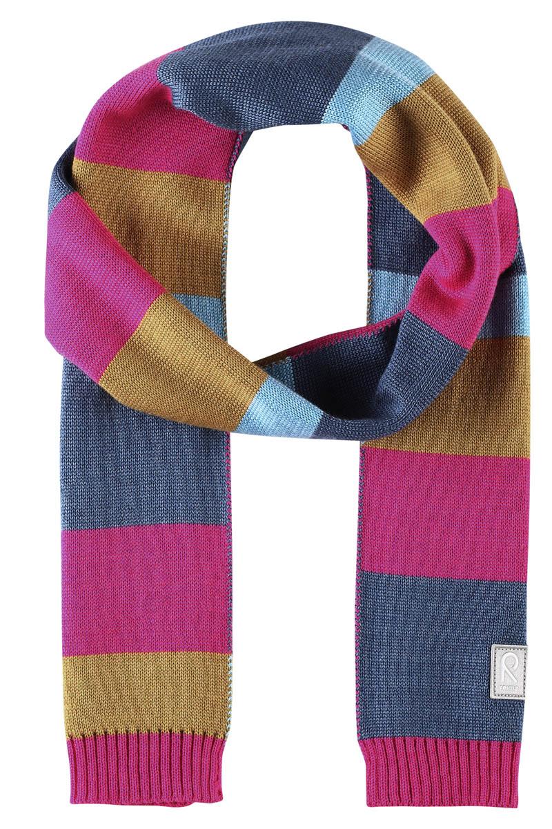 Шарф детский Reima Nyland, цвет: розовый. 528544462A. Размер универсальный528544462AДетский зимний шарф изготовлен из мягкого и теплого шерстяного трикотажа. Эластичный и дышащий материал обеспечивает хорошую терморегуляцию. Снабжен светоотражающей эмблемой Reima.