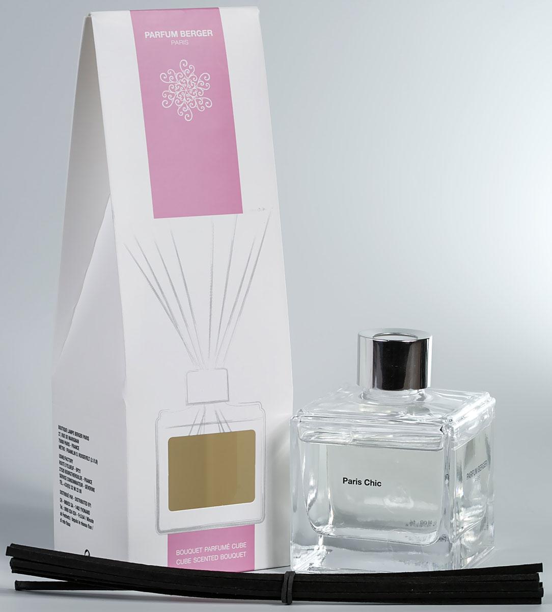"""Особенность диффузора """"Parfum Berger"""" заключается в применении инновационных полимерных палочек, что эффективнее любых тростниковых в  5 раз. Остаточный  эффект от аромажидкости остается в полимерных палочках еще на протяжении более 2-х недель и продолжает вас радовать, пока вы не дольете  во флакон свой любимый аромат.   Комплект состоит из подарочной коробочки, стеклянного флакона объемом 125 мл,  изысканной аромажидкости и комплекта полимерных палочек.    Элегантный куб из прозрачного стекла, украшенный серебристым кольцом, с эффектно смотрящимся букетом из черных палочек, который  придает композиции современный вид. Сделанные из технического полимера, 8 палочек гарантируют идеальное распространение аромата. Не  теряют свой цвет при контакте с содержимым флакона."""