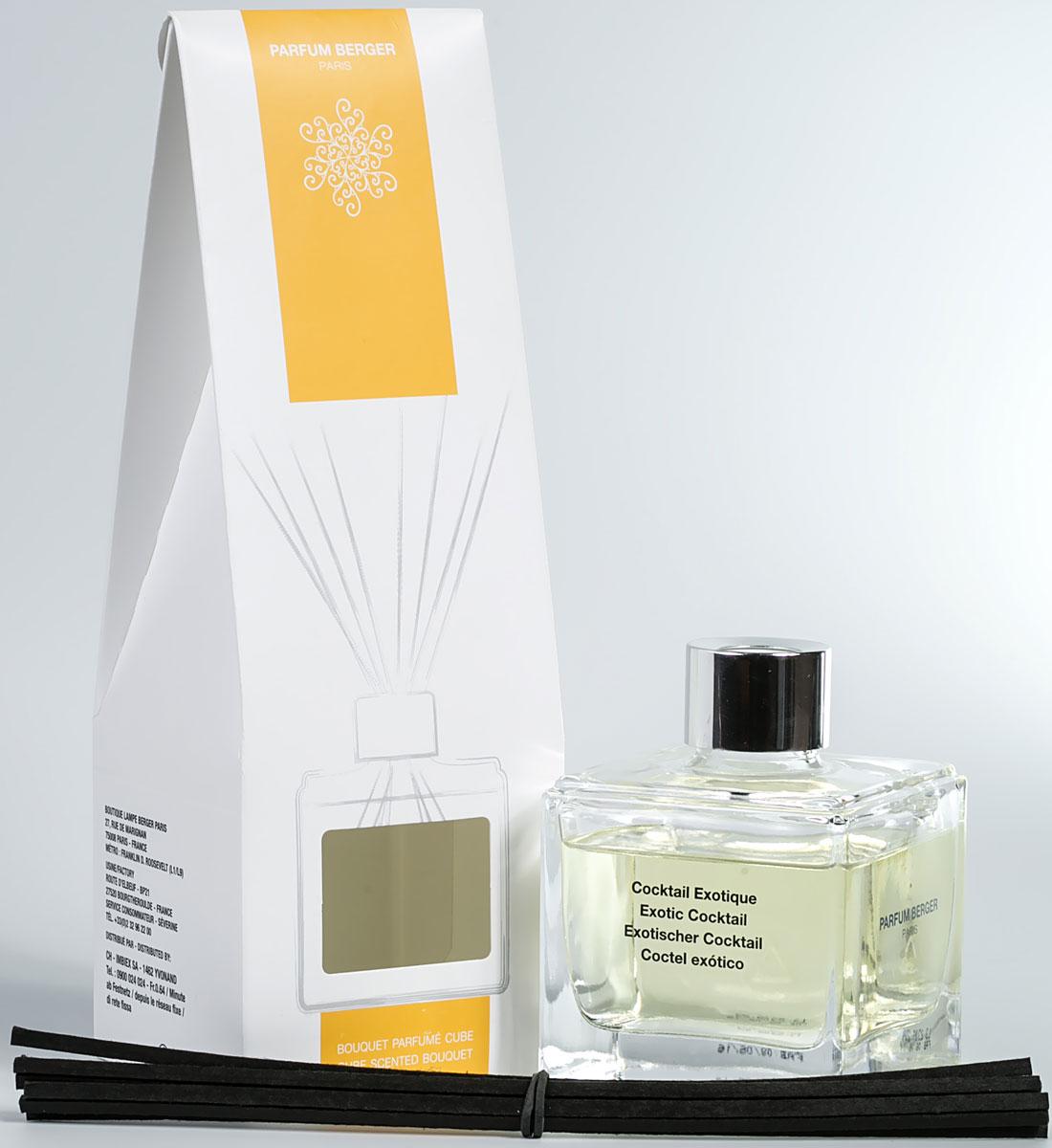 """Особенность диффузера """"Parfum Berger"""" заключается в применении  инновационных полимерных палочек, что эффективнее любых тростниковых в  5 раз. Остаточный эффект от аромажидкости остается в полимерных  палочках еще на протяжении более 2-х недель и продолжает вас радовать, пока  вы не дольете во флакон свой любимый аромат.   Комплект состоит из подарочной коробочки, строгого флакона 125 мл,  изысканной аромажидкости и комплекта полимерных палочек.  Элегантный куб из прозрачного стекла, украшенный серебристым кольцом, с  эффектно смотрящимся букетом из черных палочек, который  придает композиции современный вид. Сделанные из технического полимера,  8 палочек гарантируют идеальное распространение аромата. Не  теряют свой цвет при контакте с содержимым флакона."""