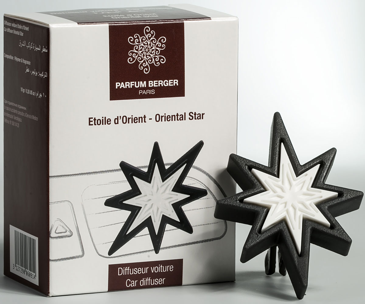 Диффузор автомобильный Parfum Berger Средиземноморская звезда, на дефлектор2000000048147Диффузор Parfum Berger Средиземноморская звездапредназначен для салона автомобиля. Устанавливается на дефлектор. Эта звезда, выполненная из керамики тончайшей работы, обрамленная переработанным пластиком, идеально подходит для ароматизации салона автомобиля. Она оригинально смотрится и занимает мало места. Верхние: бергамот; средние: красные ягоды; нижние: ваниль.Диффузор многоразового использования, в него легко можно добавить новый аромат. Рекомендация по использованию: первоначально пропитать звезду более обильно, далее, для поддержания аромата, наносить жидкость по мере угасания.
