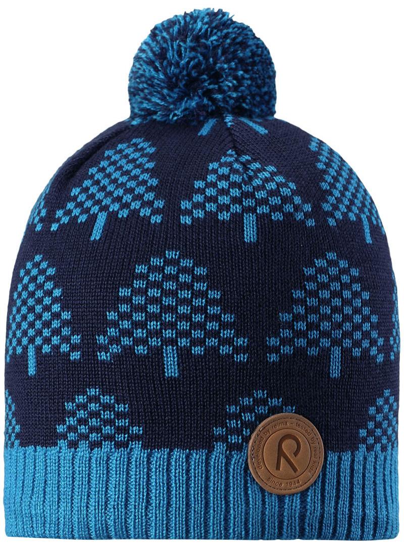 Шапка-бини детская Reima Kajaani, цвет: темно-синий, голубой. 5285636490. Размер 565285636490Детская шапка из теплого шерстяного трикотажа. Материал превосходно регулирует температуру и хорошо согревает голову. Ветронепроницаемые вставки и подкладка из мягкого флиса. Декоративная структурная вязка.