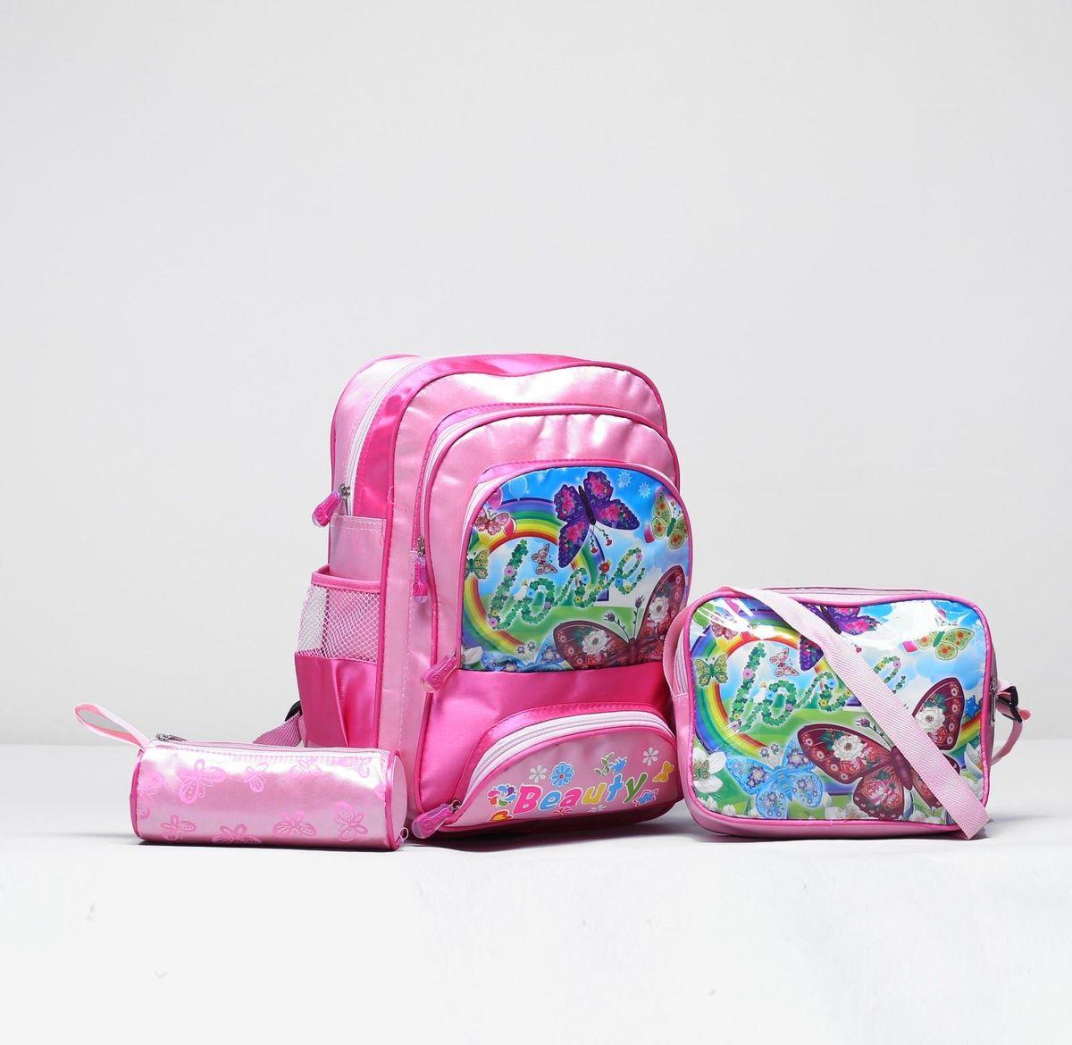 Страна Карнавалия Рюкзак Бабочки цвет розовый 18573771857377Маленькие, казалось бы, незначительные элементы зачастую завершают, дополняют образ, подчёркивают статус, стиль и вкус своего обладателя. Рюкзак школ Бабочки, с сумкой и косм, 1 отд, 3 н/кармана, 2 бок сетки, розовый — одна из подобных деталей. Это вещь достойного качества, которая может стать прекрасным подарком по любому поводу.