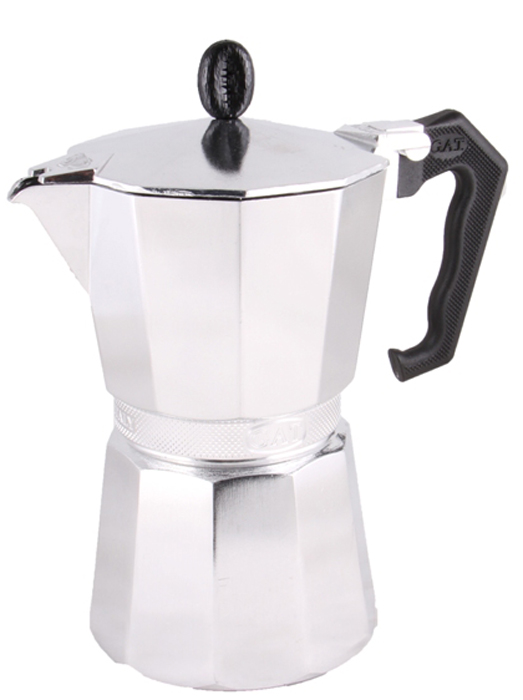 Кофеварка гейзерная G.A.T. Aroma Vip, 150 мл103403Гейзерная кофеварка G.A.T. Aroma Vip изготовлена извысококачественного алюминия. Изделие оснащено удобнойне нагревающейся ручкой. Принцип работы такой гейзерной кофеварки - кофезаваривается путем многократного прохождения горячейводы или пара через слой молотого кофе.Удобство кофеварки в том, что вся кофейная гуща остаетсяво внутренней емкости.Гейзерные кофеварки пользуются большой популярностьюблагодаря изысканному аромату.Кофе получается крепкий и насыщенный.Теперь и дома вы сможете насладиться великолепнымэспрессо.Подходит для газовых, электрических и стеклокерамическихплит. Нельзя использовать на индукционных плитах.