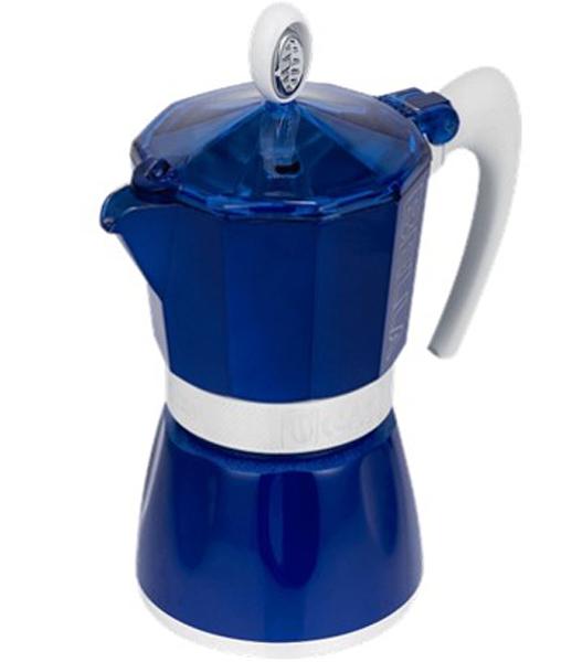 Кофеварка гейзерная G.A.T. Bella, цвет: синий, 150 мл103803 blueГейзерная кофеварка G.A.T. на 3 порции выполнена из алюминия. Изделие состоит из двух частей (для молотого кофе и для воды), соединенных между собой. Кофеварка имеет эргономичную термостойкую ручку, которая всегда остается холодной. Специальное внутреннее покрытие обеспечивает легкость очистки. Принцип работы гейзерной кофеварки: кофе заваривается путем прохождения горячей воды или пара через слой молотого кофе. Удобство кофеварки в том, что вся кофейная гуща остается во внутренней емкости. Кофеварка предназначена для приготовления кофе на электрических, газовых, стеклокерамических и других различных поверхностях, кроме индукционных.