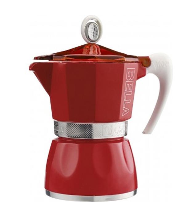 Кофеварка гейзерная G.A.T. Bella, цвет: красный, 150 мл103803 redГейзерная кофеварка G.A.T. на 3 порции выполнена из алюминия. Изделие состоитиз двух частей (для молотого кофе и для воды), соединенных между собой.Кофеварка имеет эргономичную термостойкую ручку, которая всегда остаетсяхолодной. Специальное внутреннее покрытие обеспечивает легкость очистки. Принцип работы гейзерной кофеварки: кофе заваривается путем прохождениягорячей воды или пара через слой молотого кофе. Удобство кофеварки в том, чтовся кофейная гуща остается во внутренней емкости.Кофеварка предназначена для приготовления кофе на электрических, газовых,стеклокерамических и других различных поверхностях, кроме индукционных.