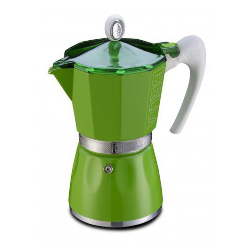 Кофеварка гейзерная G.A.T. Bella, 450 мл, цвет: зеленый103809 greenДля приготовления кофе на электрических, газовых и стеклокерамических плитах, кроме индукционных Эргономичная термостойкая ручка Специальное внутреннее покрытие обеспечивает легкость очистки