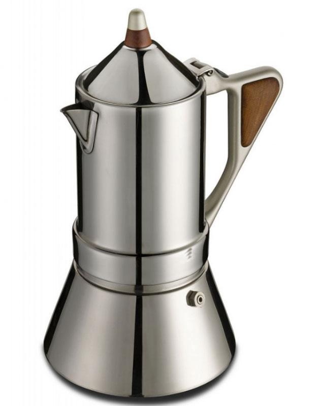 Кофеварка гейзерная G.A.T. Regina, 200 мл171004Гейзерная кофеварка G.A.T. Regina подойдет любителям оригинального и элегантного стиля. Кофеварка выполнена из нержавеющей стали, а значит подойдет для всех типов нагревательных поверхностей, включая индукционные.