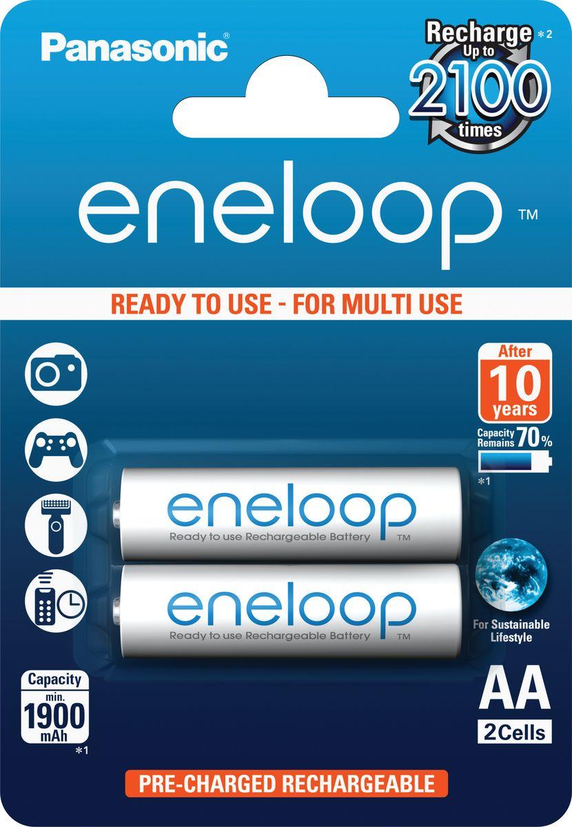 Аккумулятор Panasonic Eneloop, тип АА, 1900 mAh, 2 шт5410853052623Eneloop - долговечные, готовые к работе сразу после покупки, экономичные и экологичные перерабатываемые аккумуляторы. Они могут быть полностью разряжены и снова заряжены до 2100 раз. Eneloop - это экологичные батареи нового поколения, которые предпочли более чем в 60 странах мира в качестве очередного этапа на пути от одноразового к многоразовому использованию вещей. Обычные аккумуляторы быстро теряют заряд при хранении, в то время как технология PANASONICseneloop позволяет сохранять 70% заряда на протяжении 5 лет. Одной из ключевых отличий eneloop является высокая энергоотдача. Подавляющее большинство электронных устройств отключаются при снижении напряжения питания до 1,1В. Обычные никель-металлогидридные аккумуляторы равномерно теряют напряжение, в результате чего, достигают минимального уровня достаточно быстро. eneloop может удерживать напряжение практически на одном уровне долгое время или лишь перед полной разрядкой оно снижается. Eneloop демонстрирует прекрасные показатели работы при температуре 0C и может использоваться до -20C.