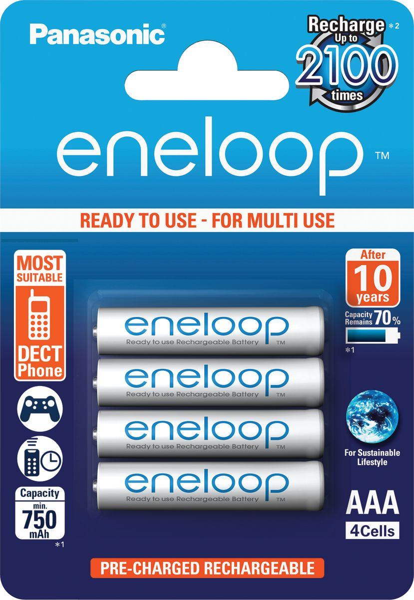 Аккумулятор Panasonic Eneloop, тип AAA, 750 mAh, 4 шт аккумулятор r03 aaa eneloop ni mh 750mah предзаряженный бл 2 panasonic 5410853052678