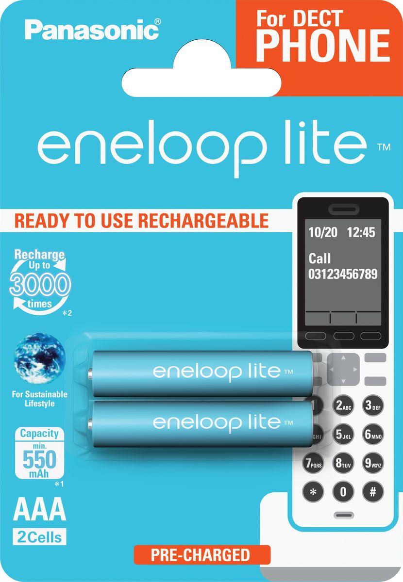 Аккумулятор Panasonic Eneloop, тип AAA, DECT Lite Ni-MH 550 мАч, 2 шт