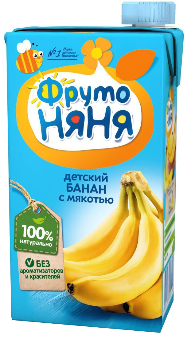 ФрутоНяня нектар из бананов, 0,5 лP050585Детскими соками и нектарами ФрутоНяня становятся натуральные, отборные фрукты, ягоды и овощи. Они обеспечивают вашего малыша природной пользой и энергией для гармоничного роста и развития. Бережная технология приготовления сохраняет природную пользу фруктов, ягод и овощей. Современное производство соответствует высоким стандартам безопасности и качества.