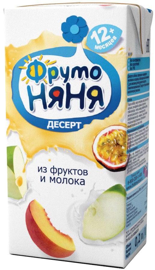 ФрутоНяня десерт из молока и фруктов, с 12 месяцев, 0,2 л десерт конти бонжур ванильное 29г