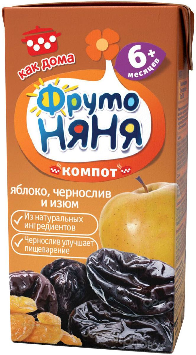 ФрутоНяня компот из яблок, чернослива и изюма с 6 месяцев, 0,2 лP052048Традиционный рецепт приготовления напитков ФрутоНяня делает их такими же вкусными, как дома. Напитки, приготовленные из натуральных ингредиентов, обеспечивают вашего малыша природной пользой и энергией, необходимой для гармоничного роста. Бережная технология приготовления сохраняет природную пользу фруктов и ягод. Современное производство соответствует высоким стандартам безопасности и качества.