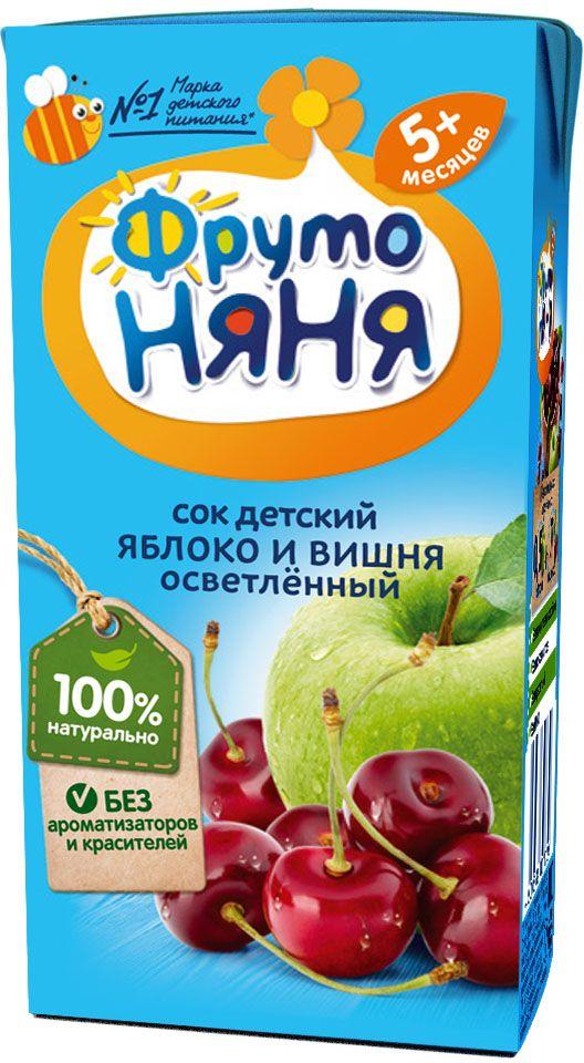ФрутоНяня сок из яблок и вишни с 5 месяцев, 0,2 лP052049Детскими соками и нектарами ФрутоНяня становятся натуральные, отборные фрукты, ягоды и овощи. Они обеспечивают вашего малыша природной пользой и энергией для гармоничного роста и развития. Бережная технология приготовления сохраняет природную пользу фруктов, ягод и овощей. Современное производство соответствует высоким стандартам безопасности и качества.