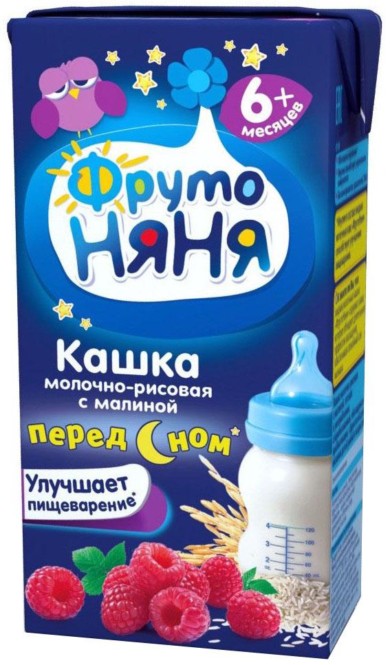 ФрутоНяня каша рисовая с малиной молочная с 6 месяцев, 0,2 л молочная продукция фрутоняня коктейль молочный с малиной 200 мл