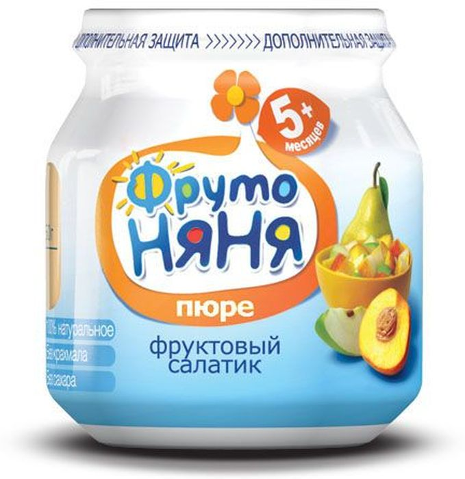 ФрутоНяня пюре фруктовый салатик с персиком с 5 месяцев, 100 г недорого